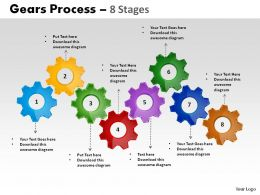 7 Stages Gears Process Powerpoint Slides
