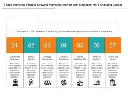 7 Step Marketing Process Showing Marketing Analysis With Marketing Mix And Analyzing Market
