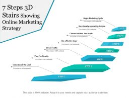 7 Steps 3d Stairs Showing Online Marketing Strategy
