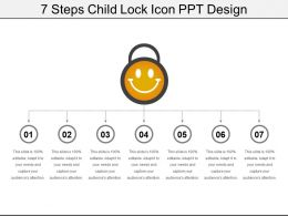 7 Steps Child Lock Icon Ppt Design