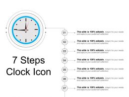 7 Steps Clock Icon Sample Presentation Ppt