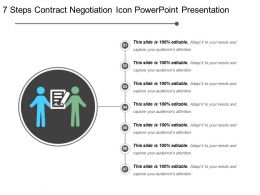 7 Steps Contract Negotiation Icon Powerpoint Presentation