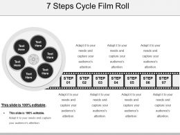 7 Steps Cycle Film Roll Presentation Powerpoint Templates