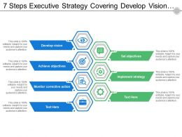 7 Steps Executive Strategy Covering Develop Vision Objectives And Implement Strategy