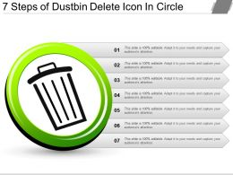 7 Steps Of Dustbin Delete Icon In Circle