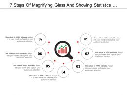 7 Steps Of Magnifying Glass And Showing Statistics Performance Icon