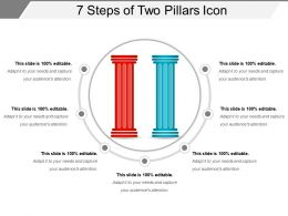 7 Steps Of Two Pillars Icon Presentation Outline