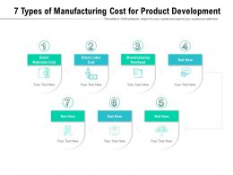 7 Types Of Manufacturing Cost For Product Development