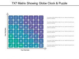 7x7 Matrix Showing Globe Clock And Puzzle