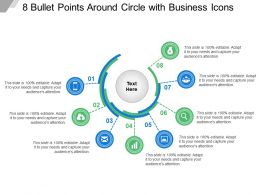 8 Bullet Points Around Circle With Business Icons