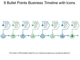 8 Bullet Points Business Timeline With Icons