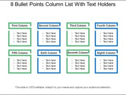 8 Bullet Points Column List With Text Holders
