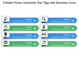 8 Bullet Points Horizontal Text Tags With Business Icons