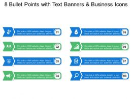 8 Bullet Points With Text Banners And Business Icons
