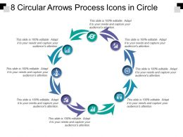 8 Circular Arrows Process Icons In Circle