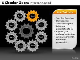 8 Circular Gears Interconnected Powerpoint Slides And Ppt Templates DB