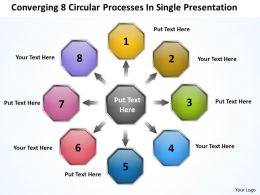 8 circular processes in single presentation Flow Network PowerPoint templates