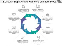8 Circular Steps Arrows With Icons And Text Boxes