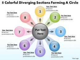 8 colorful diverging sections forming a circle Circular Flow Layout Diagram PowerPoint Slides