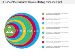 8 Concentric Coloured Circles Starting From One Point