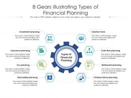 8 Gears Illustrating Types Of Financial Planning