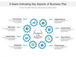 8 Gears Indicating Key Aspects Of Business Plan