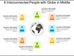 8 Interconnected People With Globe In Middle