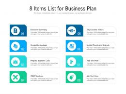 8 Items List For Business Plan