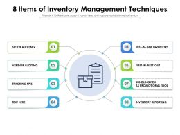 8 Items Of Inventory Management Techniques