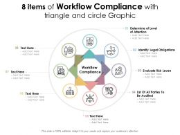 8 Items Of Workflow Compliance With Triangle And Circle Graphic