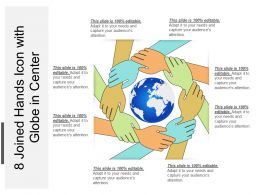 8 Joined Hands Icon With Globe In Center