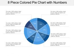 8 Piece Colored Pie Chart With Numbers