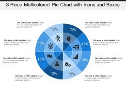 8 Piece Multicolored Pie Chart With Icons And Boxes