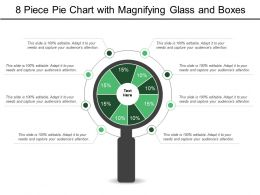 8 Piece Pie Chart With Magnifying Glass And Boxes
