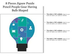 8 Pieces Jigsaw Puzzle Pencil People Gear Having Bulb Shaped