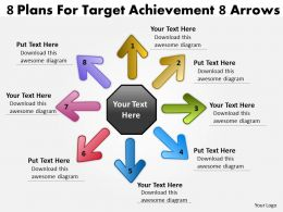 8 plans for target achievement arrows Circular Motion Network PowerPoint Slides