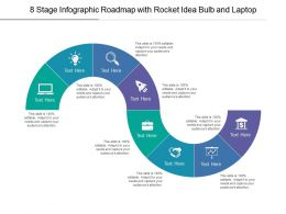 8 Stage Infographic Roadmap With Rocket Idea Bulb And Laptop