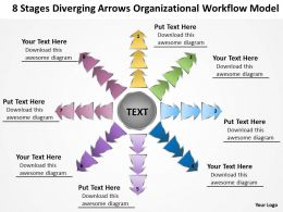 8 stages diverging arrows organizational workflow model Chart Software PowerPoint templates