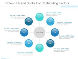 8 Step Hub And Spoke For Contributing Factors Powerpoint Slide