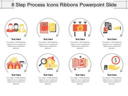 8 Step Process Icons Ribbons Powerpoint Slide