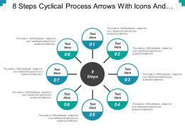 8 Steps Cyclical Process Arrows With Icons And Textboxes