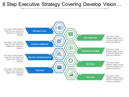 8 Steps Executive Strategy Covering Develop Vision Objectives And Implement Strategy
