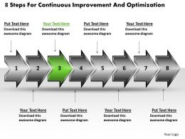 8 Steps For Continuous Improvement And Optimization Schematic Drawing Powerpoint Slides