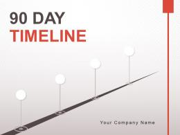90 Day Timeline With Circular Graphics In Middle Powerpoint Presentation Slides