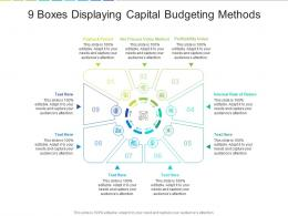 9 Boxes Displaying Capital Budgeting Methods