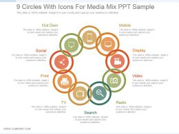 9 Circles With Icons For Media Mix Ppt Sample