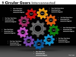 9 circular gears interconnected
