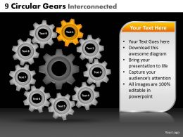 9 Circular Gears Interconnected Powerpoint Slides And Ppt Templates DB