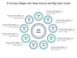 9 Circular Stages With Gear Around And Big Gear Inside