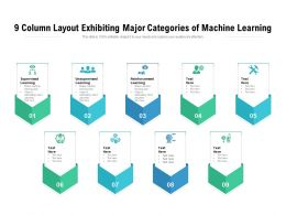 9 Column Layout Exhibiting Major Categories Of Machine Learning